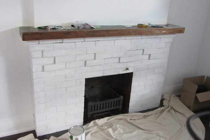 the fireplace before
